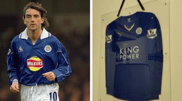 Mancini, maglia Leicester originale in cornice