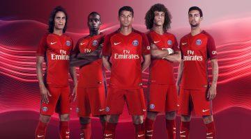 PSG, seconda maglia rossa 2016-2017