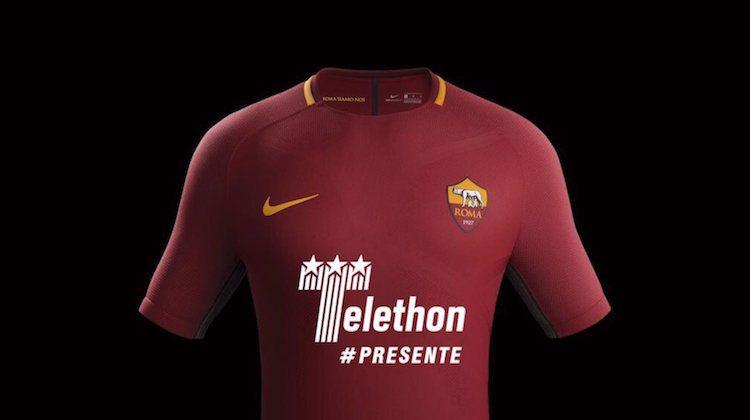 maglia home roma 2017 sponsor telethon